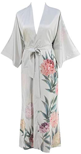 Floral Charmeuse Dress - Ledamon Women's Silk Satin Kimono Long Robe - Classic Floral Nightgown Bathrobe Sleepwear (Light Gray)