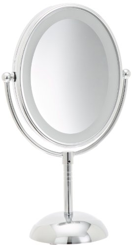 Conair Oval Shaped LED Double-Sided Lighted Makeup Mirror; 1x/7x magnification; Polished Chrome Finish by Conair