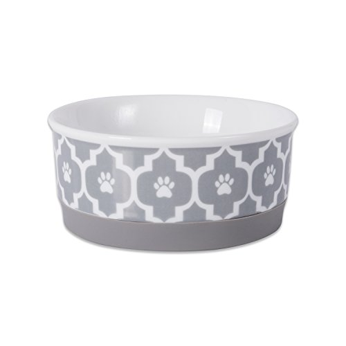 - Bone Dry DII Lattice Ceramic Pet Bowl for Food & Water with Non-Skid Silicone Rim for Dogs and Cats (Small - 4.25