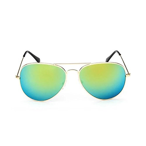 Brendacosmetic New Fashion Vintage sunglasses Silver Ultra Light Metal Frame reflective sunglasses,Colorful retro sunglasses Polarised Casual sunglasses frog mirror for Daily - Prescription I Do Need Sunglasses