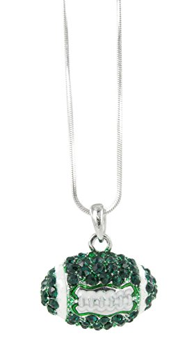 Dome Football Rhinestone Pendant Necklace - Dark Green Crystal and White -