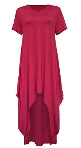 Jaycargogo O Rosso Alta Flowy Del Lungo Vestito Vino Donne Manica Delle Di collo Corta Bassa Partito Maxi r0Rrwq