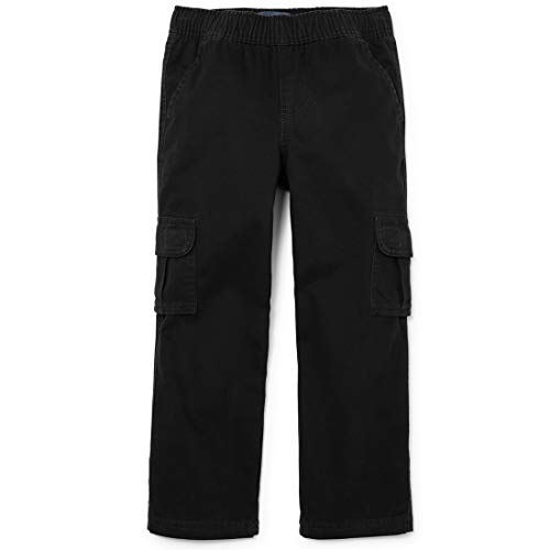 The Children's Place Big Boys' Husky Pull-On Cargo Pant, Black, 12 Husky (Boys Microfiber Cargo Pants)