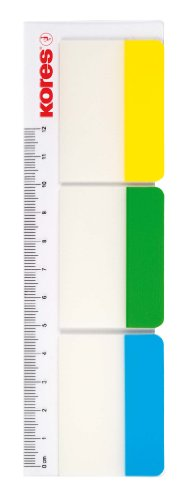 Kores Adhesive Filing Index Tabs on Ruler, Wide, 37 x 50 mm, 3 Colours x 10 Sheets