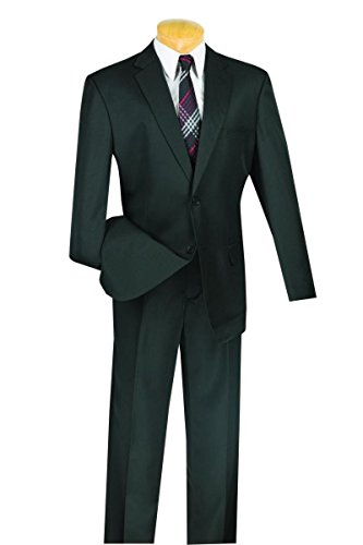 Vinci 2 Button Single Breasted Classic Fit Gabardine Suit 2AA-Black-46L
