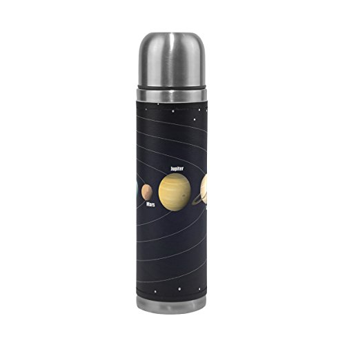 LORVIES Diagram Of Solar System Stainless Steel Thermos Water Bottle Vacuum Insulated Cup Leak Proof Double Vacuum Bottle, PU Leather Travel Thermal Mug,17 oz by LORVIES