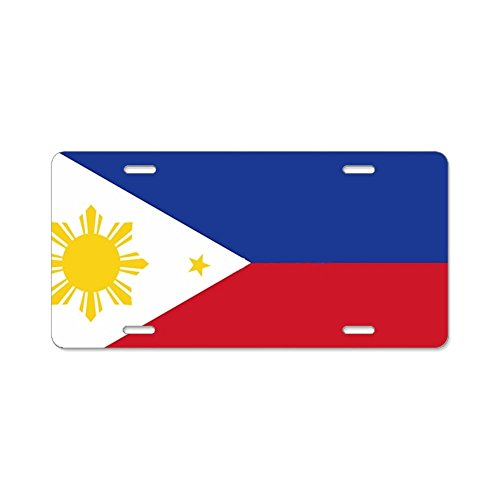 HHAT Unisex Sun And Stars Flag Of The Philippines License Plate Frame Aluminum Board Frames Theft-proof Frames