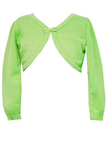 - Rare Editions Big Girls Tween 7-16 Lime-Green Long Sleeve Bow Trim Knit Sweater/Shrug (Large, Lime)