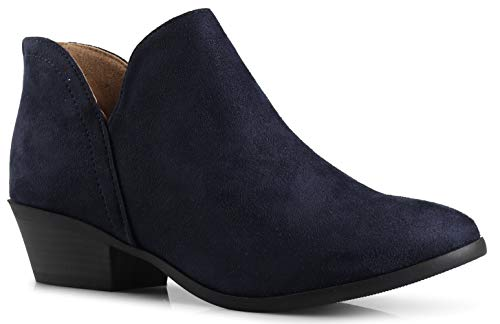 Platform Stack Heel Boots - Women's Madeline Western Almond Round Toe Slip on Bootie - Low Stack Heel - Zip Up - Casual Ankle Boot Smokey Dark Navy Suede 8