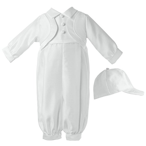 Lauren Madison Baby-Boys Newborn Shantung Long Pant Outfit Set, White, 9-12 Months