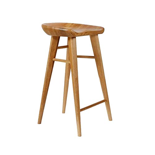 High Stool, Solid Wood Material is Simple and Casual, not Easy to deform, bar Stool (Color : Teak, Size : 75cm)