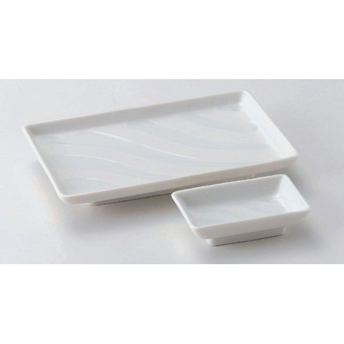 Grilled Fish Plate utw160-15--16-714 [plate 8 x 5 x 1.1 inch small plate 3.8 x 2.4 x 1.1 inch] Japanece ceramic Running water dish 7.0 + small dish set tableware