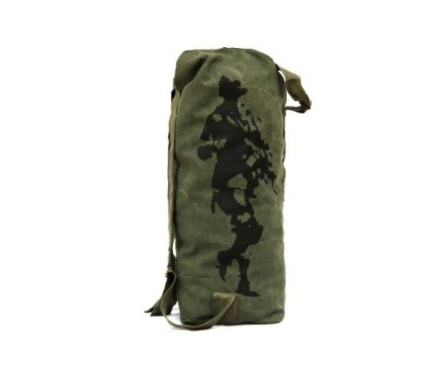 FREE SOLDIER Outdoor Canvas Backpack Climbing Riding Large Capacity Travel Bag 42L Soft Bucket Bag (Army Green)