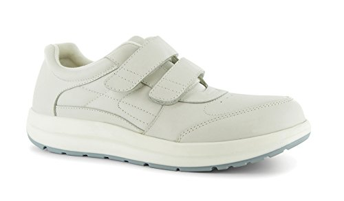 Pw Minor Performance Walker Donna Terapeutico Casual Extra Profondità Scarpa In Pelle Velcro Bianco