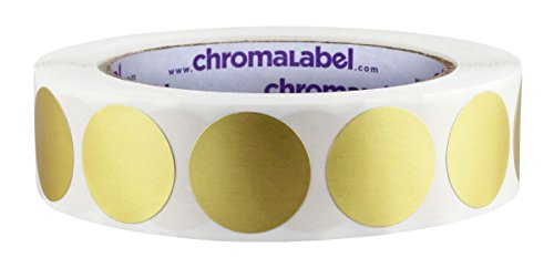 ChromaLabel 1 inch Color-Code Dot Labels | 1,000/Roll (Metallic Gold) (Dots Foil)