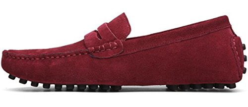 Shoes Suede Leather Red On Loafers Wine Casual Slip Men's PPXID 0Oqwg04