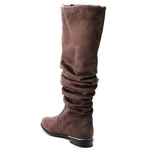 doppellagig lang hoher gefaltet Waden faltig breiter 2 Stiefel gestaucht locker 1 Damen Schaft HERIXO Schuhe in Wildlederimitat Khaki Dicke weicher Overknee Falten YSOWqZw
