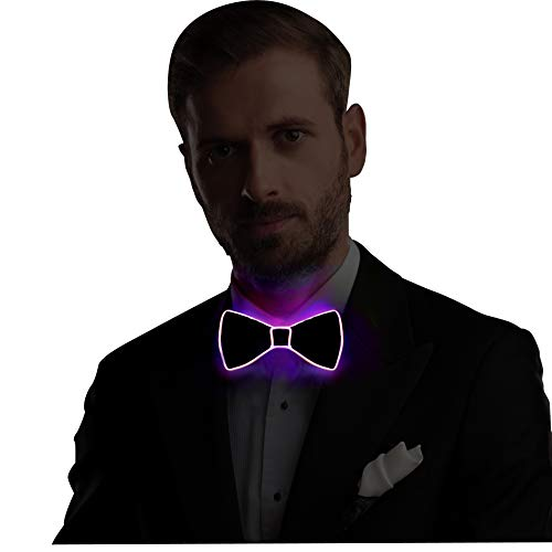 Light Up Bow Tie LED El wire Tie with Switch Controller, Novelty Party Dress Decor -