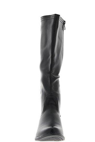 Cuadrado de cuero de 4cm de tacón botas negro