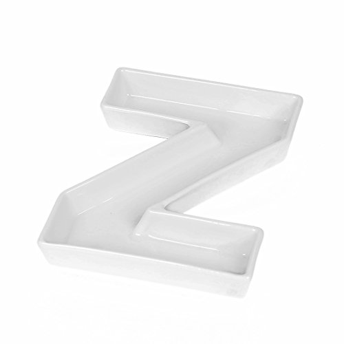 Coffeezone Porcelain Letter Shape Nuts Candy Dish & Plates for Wedding Party Decoration (Letter Z)