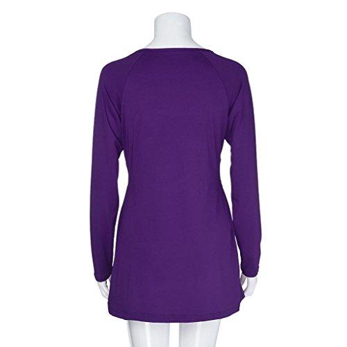 Sexy de en Femmes Chemise Blouse Shirt col des La Profonde AMUSTER Haut Trompette Couleur Manches Mode Longues Unie V Violet lache cnW0yf