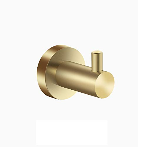 Gold Hook Robe - Towel Hook Bathroom Single Robe Hooks Stainless Steel Coat and Hat Hanger Wall Hooks Heavy Duty Contemporary Decorative Holder Brushed Gold Finished