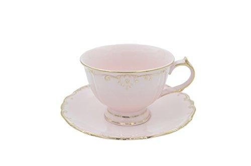 Teacup Saucer, Formal Pink Vintage Tea Cup Set Porcelain Cup Tea/Coffee Cup Saucer