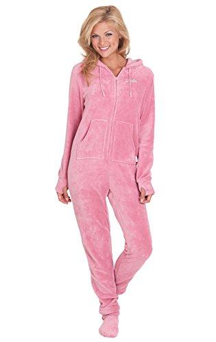 PajamaGram Personalized Women's Footie Fleece Onesie Pajamas, Pink, XLG (Mens Leopard Onesie)