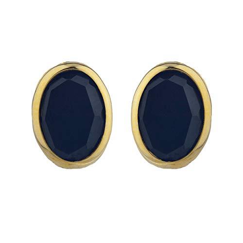 Genuine Black Onyx Oval Bezel Stud Earrings 14Kt Yellow Gold Rose Gold Silver ()