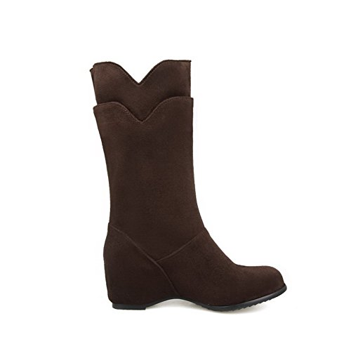 Pull Brown Heels on Frosted Toe Mid Women's Round Closed Boots Allhqfashion top Kitten 7qE8St