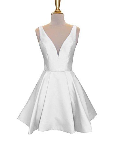 Women's V Neck Satin Prom Homecoming Dresses Short A Line Sleeveless Cocktail Party Dress Knee Length White Size 2 ()