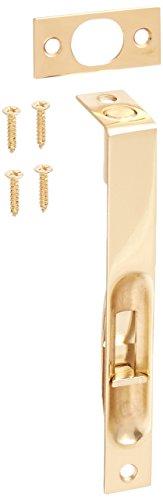 Polished Brass Slide Bolt - Flush Mounted Door Bolt In Polished Brass Finish. Door Slide Lock.
