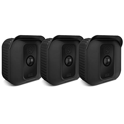 Fintie Blink XT Camera Silicone Skin - [3 Pack] Soft Silicone UV Weather Resistant Protective and Camouflaged Case Cover for Blink XT Home Security Indoor Outdoor Camera - Black