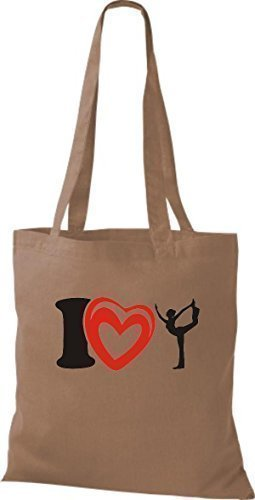 ShirtInStyle La bolsa de asas Bolsa de algodón I Love Yogo Yoga Sport Gimnástico - fucsia Marrón Claro