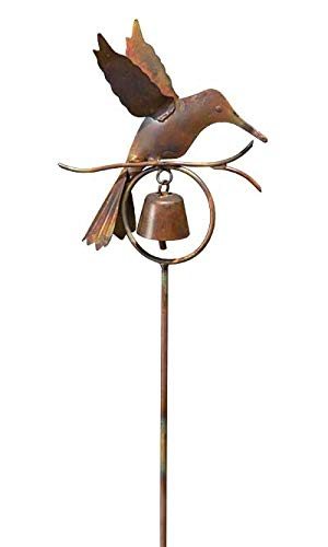 Hummingbird with Bell Garden Stake, Flamed Copper
