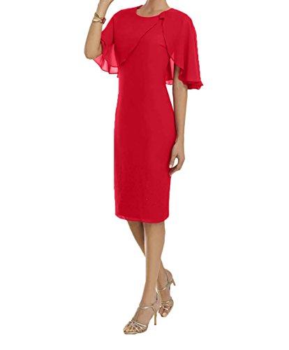 Rot Charmant Promkleider Pink Abendkleider Festlichkleider Abschlussballkleider Chiffon Kurz Brautjungfernkleider Damen ZqraxzwZ