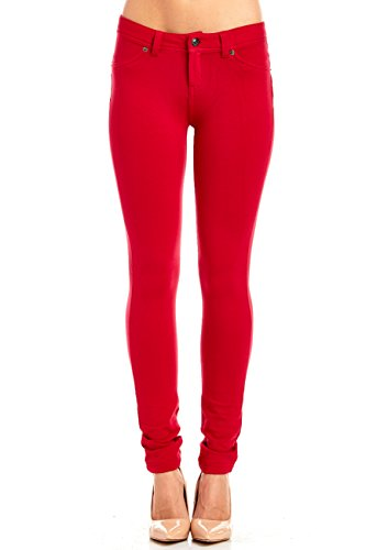 WOMENS LABIJOU FRENCH TERRY BASIC JEGGING SKINNY PANTS 511S (SMALL, RED)