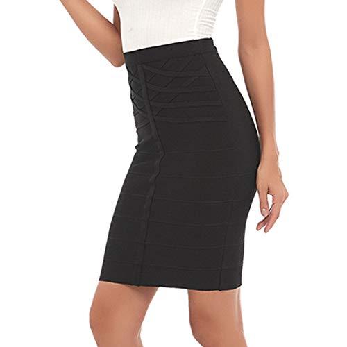 Women's Sexyy High Waist Black Bodycon Bandage Skirt (Small, Black)
