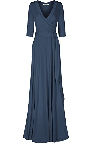 Bon Rosy Women's #madeinUSA 3/4 Sleeve V-Neck Mock Wrap Mothers Day Baby Wedding Shower Maxi Dress Charcoal S