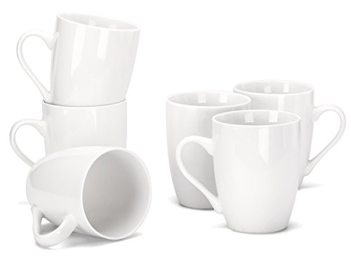 MIWARE 12 Ounce Porcelain Mugs, Set of 6,
