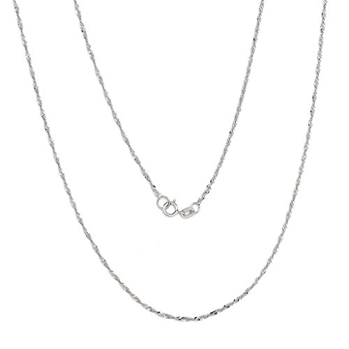 Gold Thin Rope (18 Inch 10k White Gold Thin Singapore Chain Necklace, 0.05 Inch)