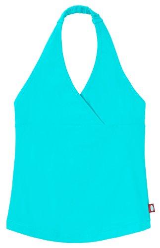 City Threads Little Girls Tankini Swimsuit for Girls Toddler Bathing Suit Rash Guard Halter Top for Beach Pool Swimwear, Turquoise, 16