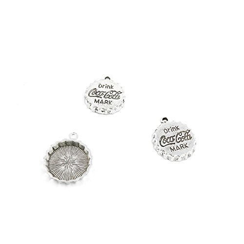 5 Pcs Jewelry Making Charms QFS02 Coca Cola Drink Cap Antique Silver Fashion Finding for Necklace Bracelet Pendant Crafting Earrings ()