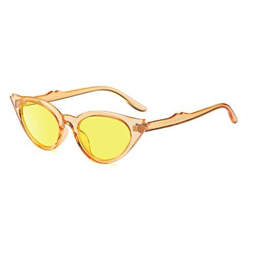 Frame mujer Cat de Retro Sunglasses Rodajas Style Mod Eye Oval Translúcidas para Naranja Vintage Yefree Lente Resin qFwnH7nRv