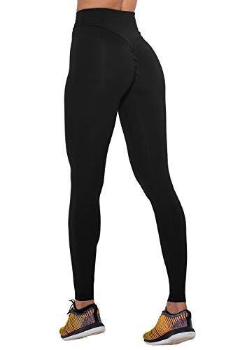 (COCOLEGGINGS Women's Girls Scrunch Butt Push up Leggings Yoga Pants Black S)