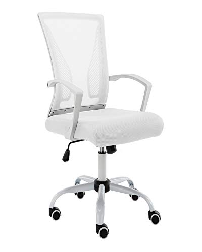 Modern Home WHWHITE Zuna Mid - Back Office Chair, White/White