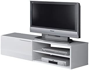 Habitdesign 006670BO - Mueble comedor televisor bajo, una puerta y un estante, color Blanco Brillo, dimensiones 35x130x42 cm: Amazon.es: Hogar