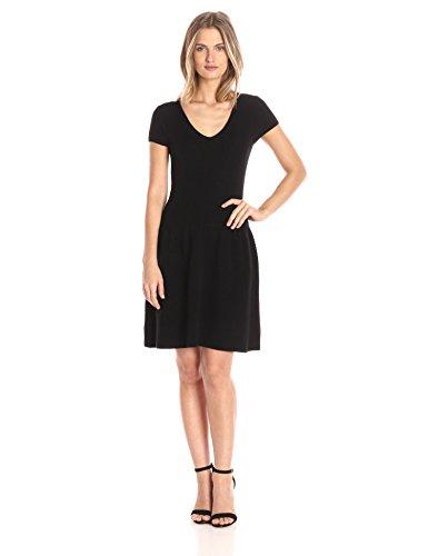 Sofia Cashmere Women's Short Sleeve Cashmere V Neck Dress, Black, S