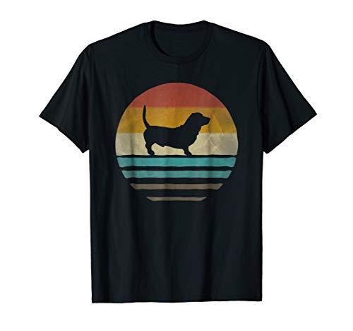Basset Hound Shirt Retro Vintage 70s Dog Silhouette Gift