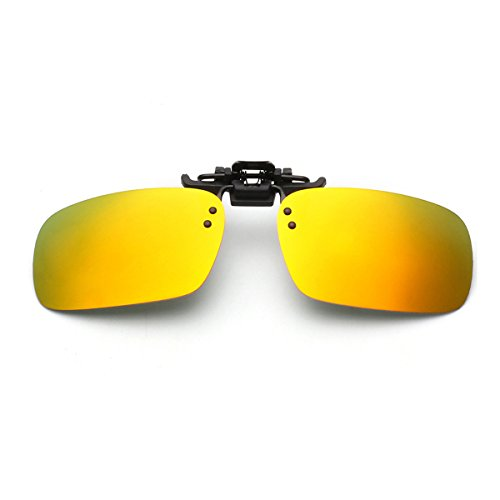 Tacloft Men's Rectangle 58mm Clip on Sunglasses Driving Outdoor Sports Glsses CLIPON001 Gold